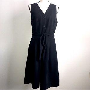 LOFT Sleeveless Button-Down Flare Dress w/ Pockets